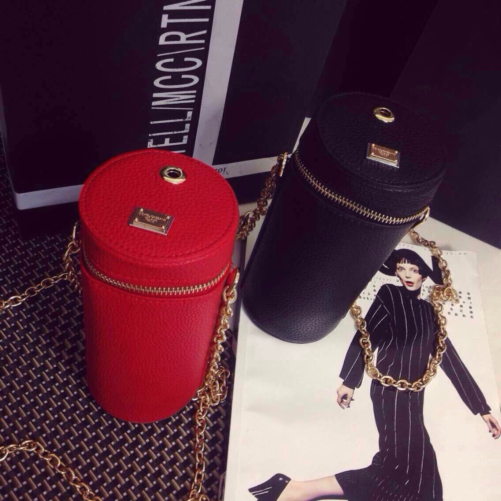 2015 Summer New Arrival Women Cute Chains Shoulder Bag Fashion Cup Day Clutches Vintage Phone Bag Mini Barrel-shaped Bag H-0297(China (Mainland))