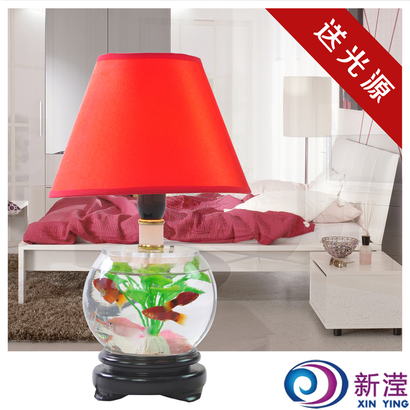 Glass fish tank decoration lamp table lamp living room for Table lamps for living room modern