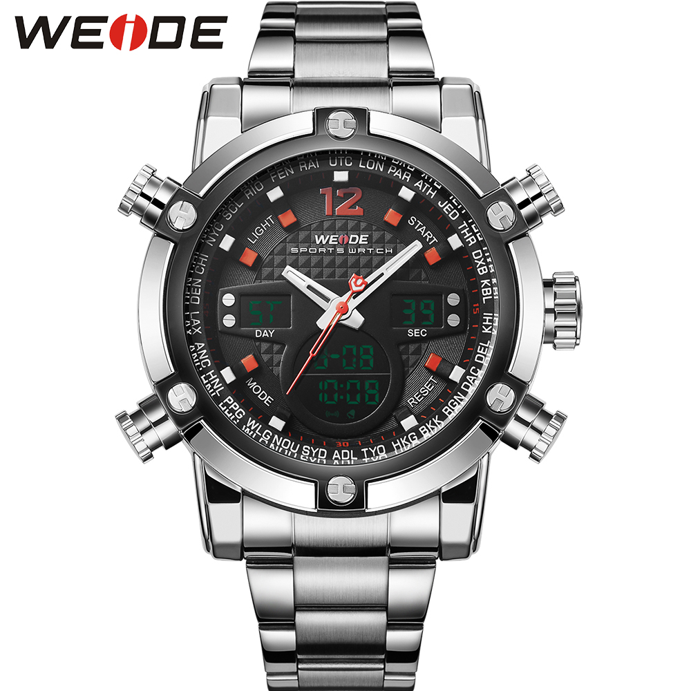 New Brand WEIDE Men Sports Military Watch Men Quartz Analog Digital Full Steel Wrist Watch Men Sports Relogios Brand Luxury<br><br>Aliexpress