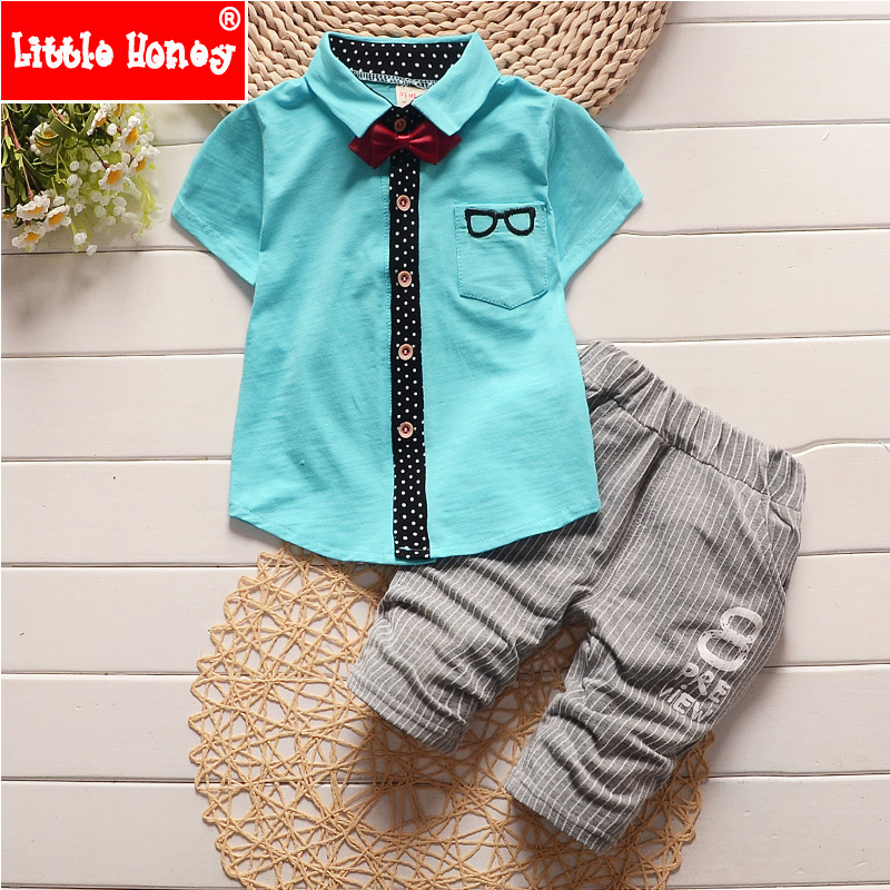 Korean Style Baby Boy Clothing Set 2016 New Summer Fashion Kids Toddler Boys Clothes Boutique Baby Boy Formal Pants Suits T554