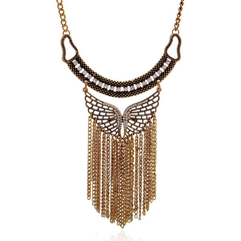 Hot alloy necklace wholesale manufacturers Europe New Retro Butterfly Necklace exaggerated tassel accessories(China (Mainland))