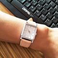 beige leather strap women watches small wrist watch