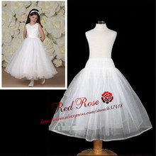 Free Shipping Long Crinoline Underskirt Petticoat for Kids Flower Girl Dress Real Photo No Hoops Accessories Waist to Hem 70 cm (China (Mainland))