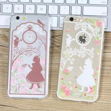 Cute Girl cherry blossom Pattern Transparent TPU Phone Cover Case For Apple Iphone 5 5s 6 6s 6plus 6splus SE Mobile Phone Sets