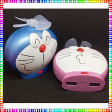 Doraemon cartoon 10000mah power bank with fans blade portable charger Universal for iphone htc androids with bag lighting cable
