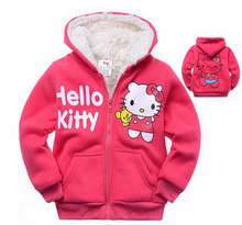 1pc Retail Baby girls Cartoon Hello Kitty Winter fur coat,children outerwear,girls cotton thick warm hoodies jacket kids clothes(China (Mainland))