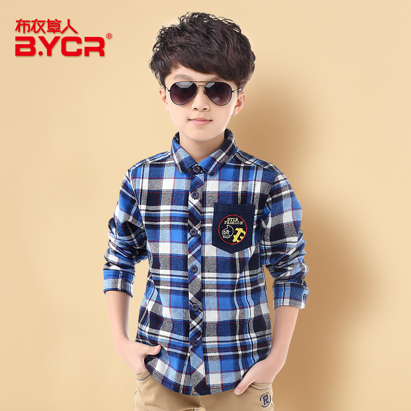 BYCR 2015 New Autumn Style Fashion Boys Turn-down Collar Checked Dress Shirt Suitable for 5~14 Years Old Hot Sale(China (Mainland))