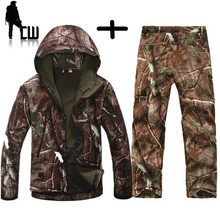 TAD Gear Tactical Soft Shell Camouflage Outdoor Jacket Set Men Army Sport Waterproof Hunting Clothes Set Military Jacket + Pants