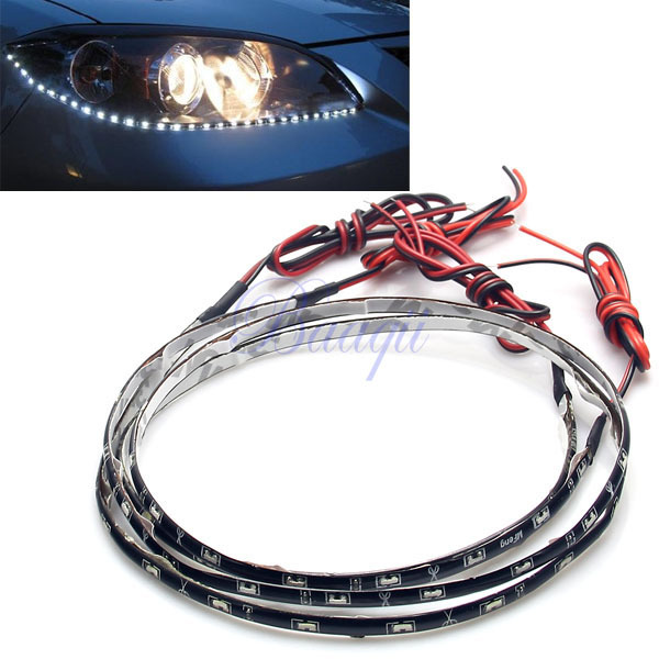"2pcs White 60CM 24"" 30LED 12V Car Truck SMD Side Emitting Glow Flexible LED Strip Light Waterproof MA165(China (Mainland))"
