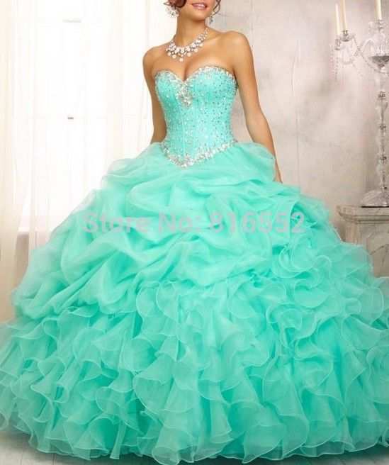 2014 New Stock Arrival Ball Gown Organza With Beads Quinceanera Dresses Dresses 15 Years Vestidos De 15 Anos Stock Size:2-16(China (Mainland))