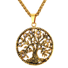 Buy Hot Tree Life Necklace & Pendant 316L Stainless Steel/Gold Color Vintage Rhinestone Coin Jewelry Men/Women GP2189 ) for $6.99 in AliExpress store