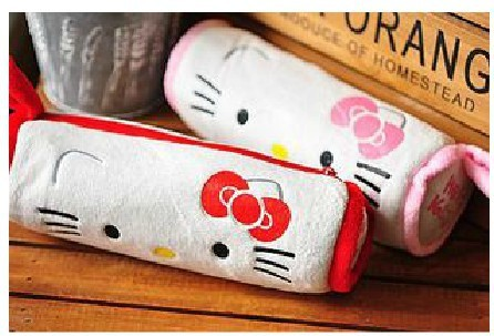 hello kitty New Lovely Cute Cat Soft Plush Pencil  pen bag very cute free shipping