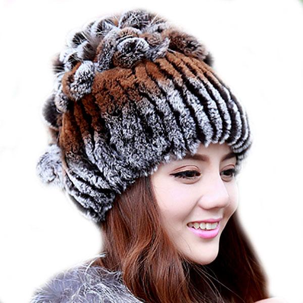 Women Rex Rabbit Fur Hat Real Fur Winter Hats Beanies Cap Hand Sewing Skullies Strips Gradient Elastic Lady Headwear LQ11024Одежда и ак�е��уары<br><br><br>Aliexpress