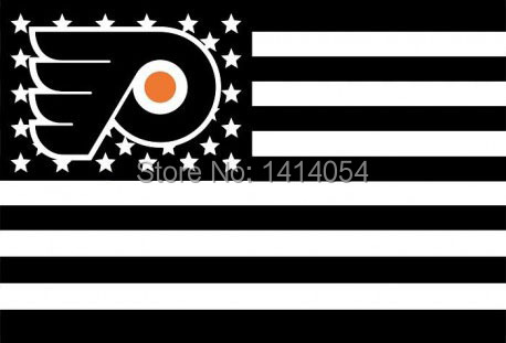 Philadelphia Flyers black with stripes and stars Flag 150X90CM NHL 3x5 FT Banner 100D Polyester flag grommets 09, free shipping(China (Mainland))