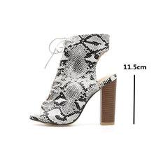 JINJOE Seksi Kadın Çizmeler Ayakkabı Yenilik Serpantin Kare Yüksek Topuklu Peep Toe pompaları oyma dantel-Up Yılan cilt Büyük Boy 35-42(China)