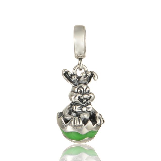 100% 925 - серебристо-ювелирные бусины улыбка кролика зеленой эмалью Fit пандора неповторимое очарование браслеты серебро 925 DIY