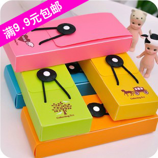 Cat hearts . korea stationery brief candy color elastic strap plastic pencil box stationery box