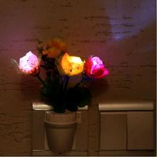 Home Colorful Romantic Rose Flower Vase LED Wall Lamp Plug-in Night Light Home Party Decoration(China (Mainland))