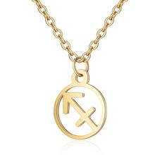 Cxwind 12 зодиакальное ожерелье с подвеской со знаком из нержавеющей стали, браслет, астрология, округлое ожерелье-чокер для женщин, ювелирные и...(China)