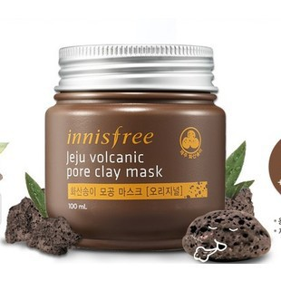 Brand Innisfree Acne Treatment Mask Face Care Jeju Volcanic Mud Pore Clay Mask Jeju Volcanic Mud 100g Smooth Shrink Pores(China (Mainland))