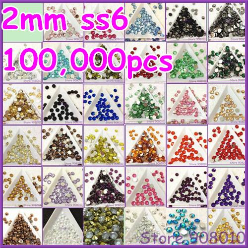 10off% For 2Bags,100,000pcs/bag 2mm SS6 Flatback Round Resin Epoxy Stone Hundred Colors~U choose,Nail Art Rhinestone Gems