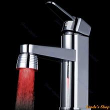 Free Shipping Temperature Sensor 3 Color Kitchen Water Tap Faucet RGB Glow Shower LED Light(China (Mainland))