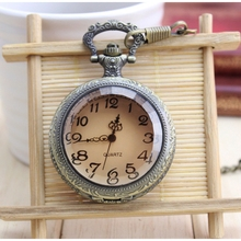 Buy Brand New Fashion Retro Brown color Pocket Pendant Key Ring Chain Quartz Pocket Watch + Gift Bag Old man pocket watch for $3.79 in AliExpress store