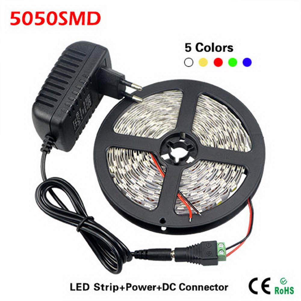 5 Meters/Roll Single Color 300 LEDs SMD 5050 LED Strip light + DC Female Connector + DC 12V 3A Power Supply Adapter For indoor(China (Mainland))