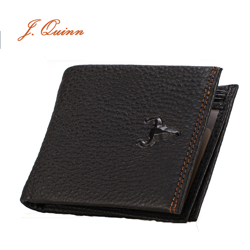 J.Quinn Men Wallet Genuine Leather Coin Black Bifold Short Wallets 2016 Famous Brand Casual Cowhide Purse With Zipper Pocket(China (Mainland))