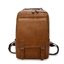 Винтажный Мужской рюкзак, водонепроницаемый, хаки, искусственная кожа, дорожная сумка, Мужская большая емкость, мужская сумка для ноутбука, ...(China)