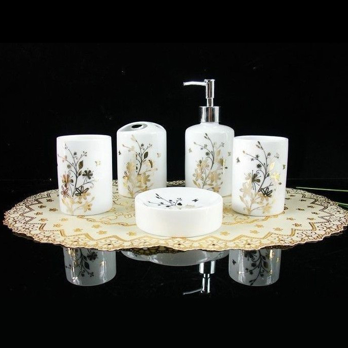 High quality bathroom set gold leaf ceramic five piece for Gold bathroom set