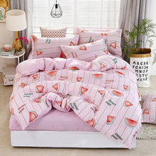Deer Stripe 4pcs Girl Boy Kid Bed Cover Set Duvet Cover Adult Child Bed Sheets And Pillowcases Comforter Bedding Set 2TJ-61006(China)