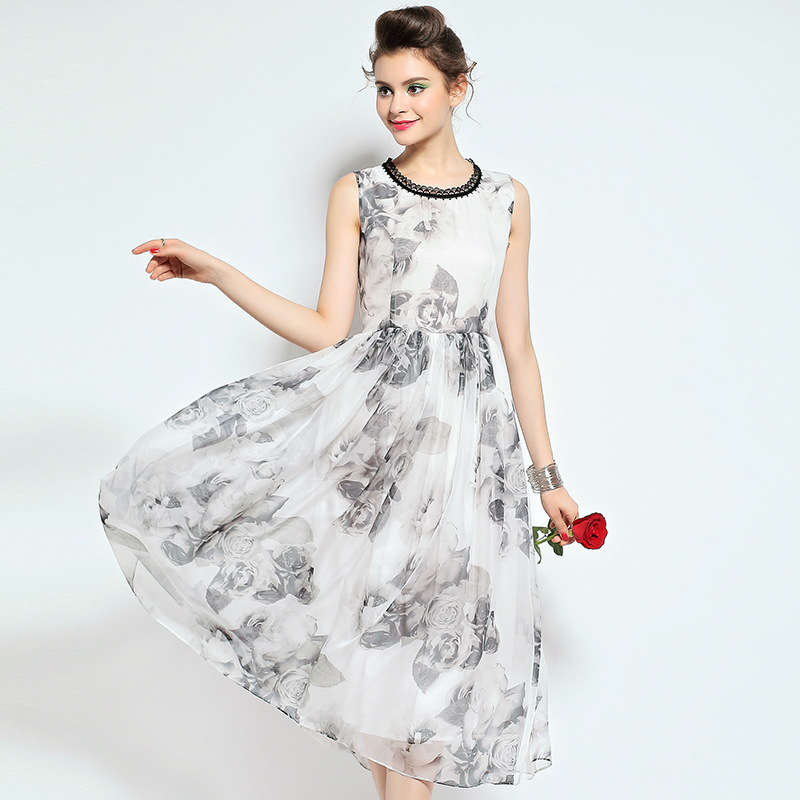 summer style Europe station 2015 new women high-end printing round neck sleeveless vest dress Q151876 - LADY SARA'S FASHION STORE store