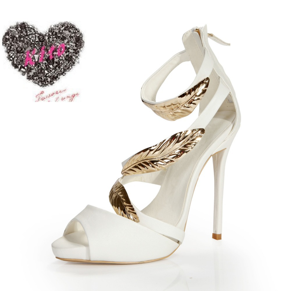 summer sandal high heel white new style shoes on