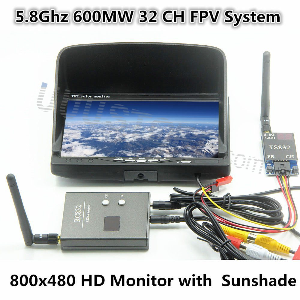 FPV Combo System 5.8Ghz 600mw boscam Transmitter and Receiver and No blue HD monitor Set for Gopro Dji Phantom RC MultiCopter
