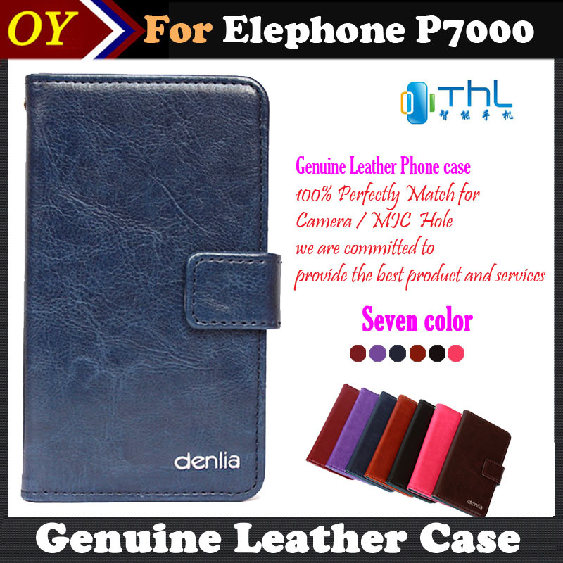 2015 Elephone P7000 Case 7 Colors Dedicated Genuine Leather Smartphone Pouch Case Cover For Elephone P7000 Card Wallet+Tracking(China (Mainland))