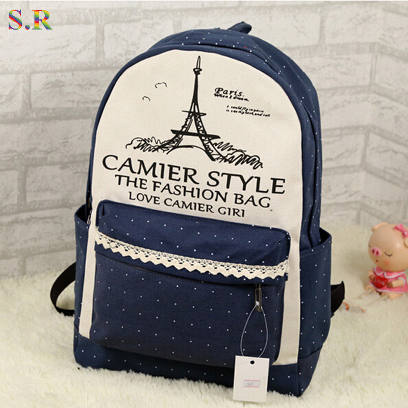 Lace Tower 2015 New Design Canvas Women Backpack College Student School Bags For Girls Leisure Backpack Mochila Feminina CB096(China (Mainland))