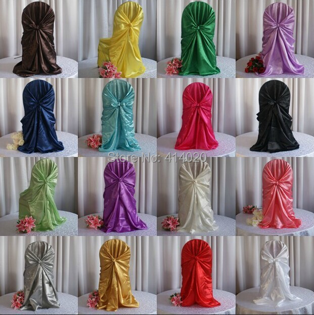 100pcs lot 12colors self tie satin chair cover wedding for Annual dinner decoration