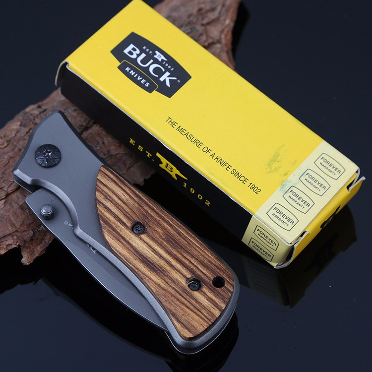 Buy BUCK Gray Titanium Plating Folding Knife Best Folding Survival Pocket Knife Outdoor Tactical Hunting Knife Camping EDC Tools cheap