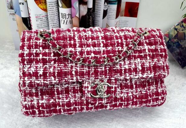 The New Wine Red Plaid Wool chain bag, high-grade composite Tweed Fabric handbags, ladies bag(China (Mainland))