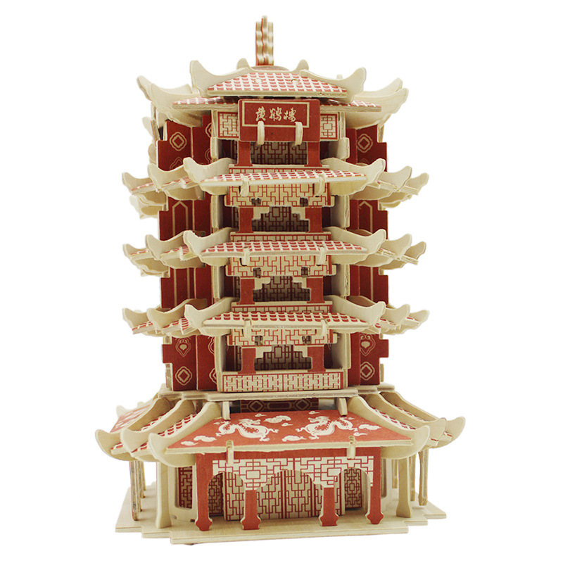 Фотография Kids Educational DIY 3D Puzzle Toys Wooden Assembly Ancient Chinese Yellow Crane Tower