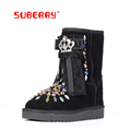 SUBERRY Top Quality Rhinestone Sheepskin Wool Women Snow Boots Lace Bowknot Luxury Fur Warm Boots Lady