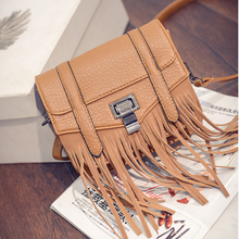 New handbag Korean version of the small square package Personalized lock Messenger packet Leisure fringed shoulder bag