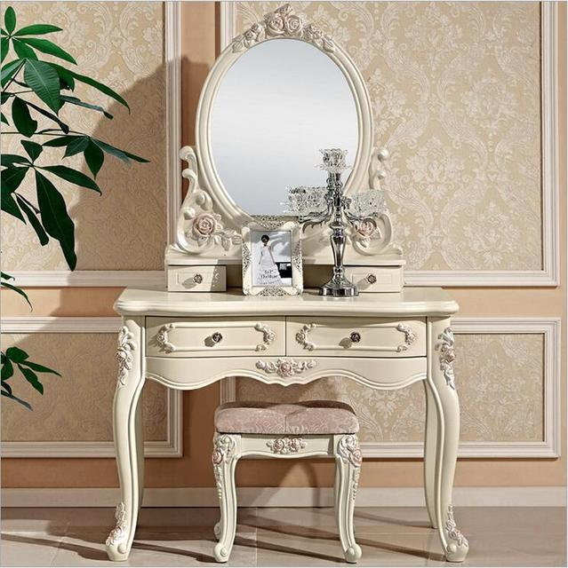 European Mirror Table Modern Bedroom Dresser French Modern White Dressing  Table With Mirror