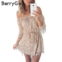 Buy BerryGo Sexy shoulder sequin tassel summer dress beach party short dress Women backless long sleeve vintage dress vestidos for $17.99 in AliExpress store