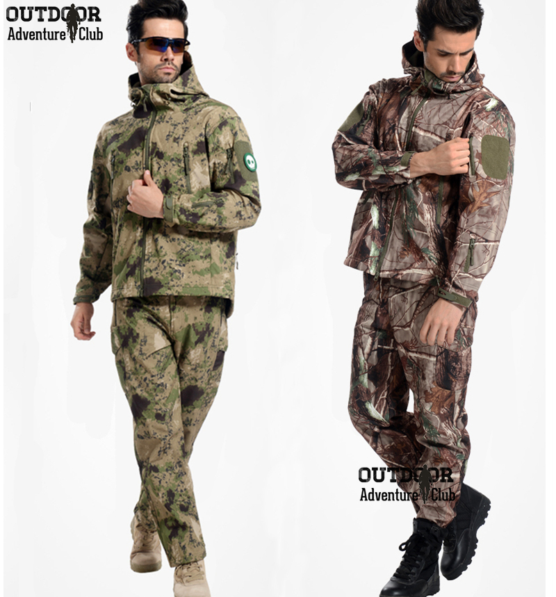 Tactical Gear Softshell Camouflage Outdoor Jacket Men Army Waterproof Camo Hunting Clothes Sport Windbreaker Military Jackets(China (Mainland))