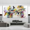 Hand painted Shark Oil Painting On Canvas Impression Sea Animal Jaws Oil Painting For Wall Decoration