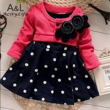 2016 Spring Baby girl dress autumn New Arrivel Flower Dot Full Sleeve Baby Girls Princess Dress Vestido 67(China (Mainland))