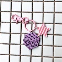 EXO Kpop Bangtan Meninos PVC Chaveiro Bag Pingente BLACKPINK GOT7 Bonito Acrílico Estrela Íris Camadas Ting Chave Keychain(China)