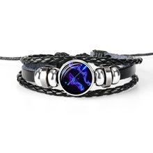 12 konstelacji znak zodiaku czarna skóra pleciona bransoletka Leo Virgo wagi Libra tkane szklana kopuła biżuteria Punk mężczyźni bransoletka(China)
